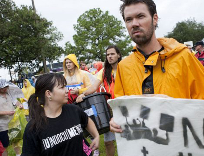 Protesters blamed Tropical Storm Isaac