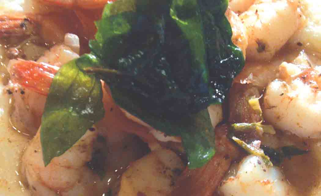 Jerk-shrimp-w-cheese-grits-fried-spinach
