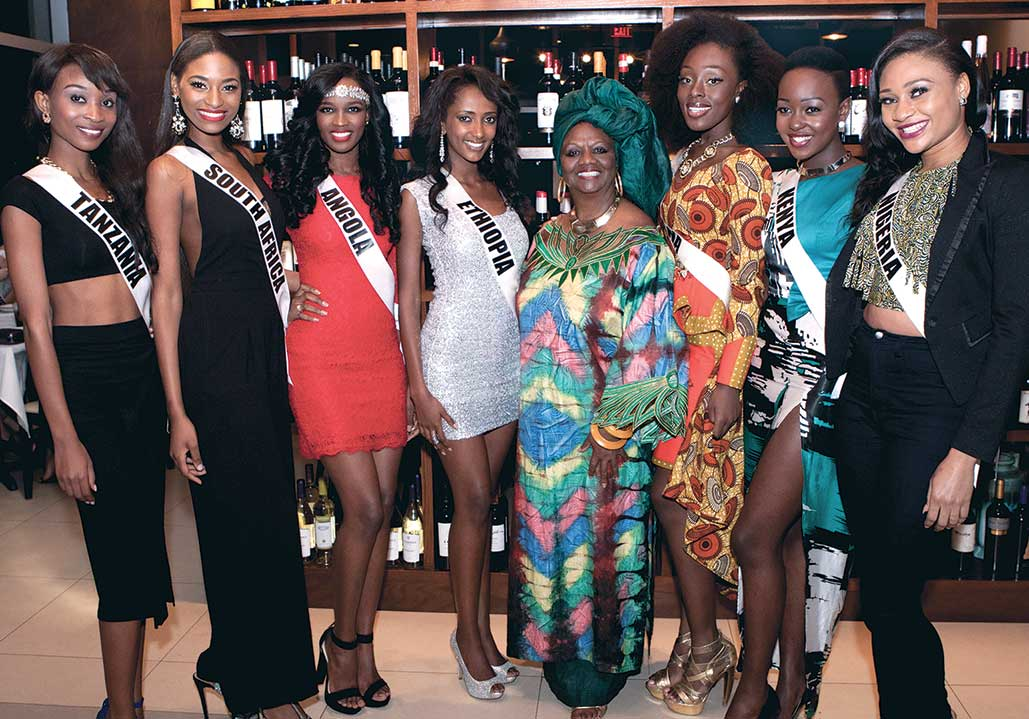Miami-Dade School Board Member Dr. Dorothy Bendross-Mindingall brought greetings to 88 contestants for the coveted Miss Universe title in the 63rd Annual Miss Universe Pageant taking place Sunday, January 25, 2015 at Florida International University in Miami, FL. Photo (L to R): Miss Tanzania Nale Boniface, Miss South Africa Ziphozakhe Zokufa, Miss Angola Zuleica Wilson, Miss Ethiopia Hiwot Mamo, Miami-Dade School Board Member Dr. Dorothy Bendross-Mindingall (D-2), Miss Ghana Abena Appiah, Miss Kenya Gaylyne Ayugi and Miss Nigeria Queen Celestine pose at the private reception held in honor of Miss Universe contestants at Harvest Delights Restaurant in Doral, FL.