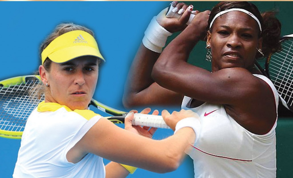 (Left to right) Anabel Medina Garrigues and Serena Williams.