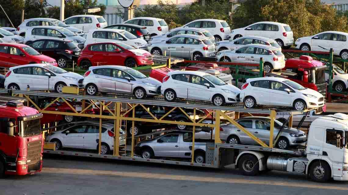 New cars are transported in a truck in Sao Bernardo do Campo