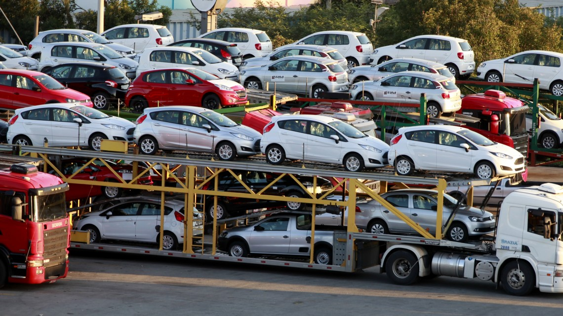 New cars are transported in a truck in Sao Bernardo do Campo
