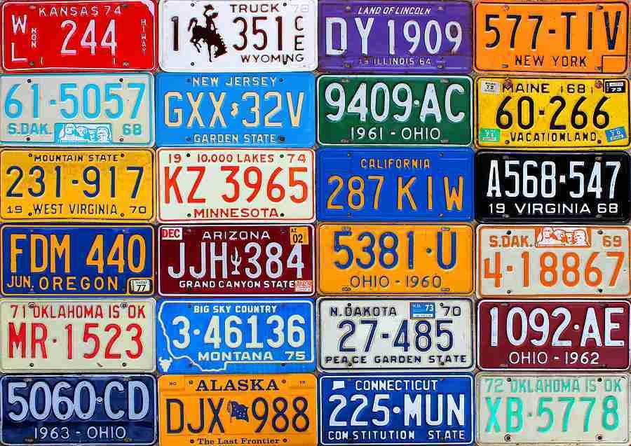 motorists' license plates