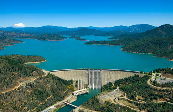 Shasta Dam and Lake Shasta with Mount Shasta in the Distance