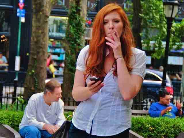 smoking in park