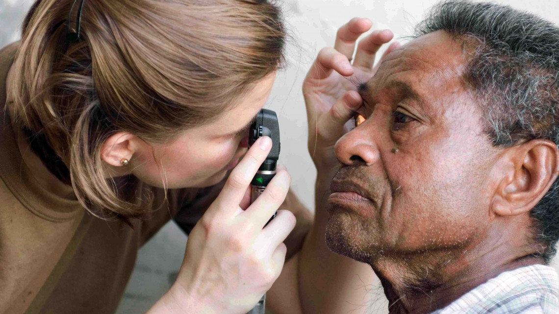 090707-N-9689V-010 APIA, Samoaâ (July 7, 2009) Lt. Jackie Anderson, optometrist, conducts an eye exam with a local man at a Pacific Partnership 2009 Medical Civic Action Project (MEDCAP) site held at the Apia Community Center. Pacific Partnership is the dedicated humanitarian and civil assistance mission conducted by, with and through partner nations, non-governmental organizations and other U.S. and international government agencies to execute a variety of humanitarian civic action missions in the Pacific Fleet area of responsibility. This year Pacific Partnership will travel to Oceania, including Kiribati, Republic of the Marshall Islands, Samoa, Solomon Islands and Tonga. Military Sealift Command dry cargo and ammunition ship USNS Richard E. Byrd (T-AKE 4) serves as the enabling platform for U.S. and partner nation military and non-governmental organizations to coordinate humanitarian civic assistance efforts. (U.S. Navy photo by Mass Communication Specialist 2nd Class Joshua Valcarcel/Released)