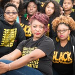 Alicia Garza, one of the founders of the #BlackLivesMatter movement, and fellow activists.