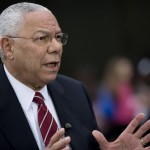 "Colin Powell, former U.S. secretary of state, speaks during a Bloomberg Television interview in Washington, D.C., U.S., on Friday, May 24, 2013. Powell, who served in three Republican administrations, said U.S. President Barack's Obama's National Defense University speech ""made it clear that there are still enemies out there"" but the U.S. has to be ""more careful"" with the use of force, ""especially with respect to drones."" Photographer: Andrew Harrer"