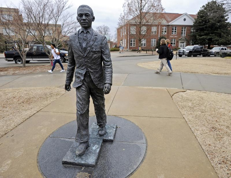 AP The James Meredith statue is seen on the Ole Miss campus in Oxford. Thomas Graning, AP James Meredith memorialized. The James Meredith statue is seen on the University of Mississippi campus in Oxford, Miss., Monday, Feb. 17, 2014. A $25,000 reward is available for information leading to the arrest of two men involved in sullying the statue early Sunday, Feb. 16. (AP Photo/The Daily Mississippian, Thomas Graning) ORG XMIT: MSUNI101
