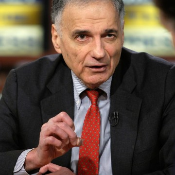 WASHINGTON - FEBRUARY 24:  (AFP OUT) Political activist Ralph Nader speaks during a taping of Meet the Press at the NBC studios February 24, 2008 in Washington, DC. Nader announced on the show that he will run for U.S. President in the 2008 elections as an independent candidate.  (Photo by Alex Wong/Getty Images for Meet the Press)