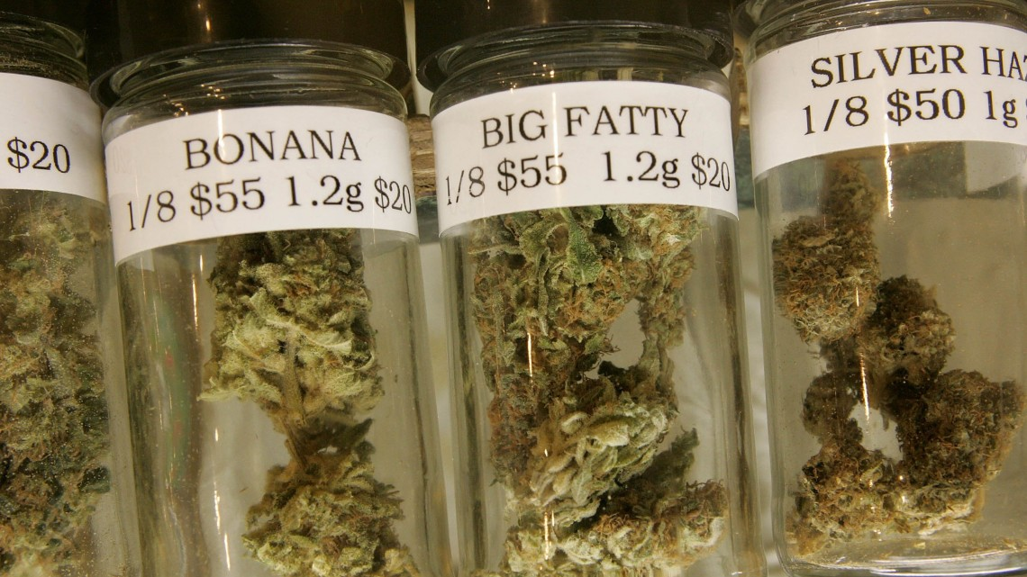 SAN FRANCISCO - JULY 13:  Containers of medicinal marijuana are seen on display at the Alternative Herbal Health Services cannabis dispensary July 13, 2006 in San Francisco. San Francisco city planners are deciding July 13 if they will issue a permit to allow Kevin Reed to open the Green Cross medical marijuana dispensary right in the middle of San Francisco's Fisherman's Wharf area, a popular tourist destination.  (Photo by Justin Sullivan/Getty Images)