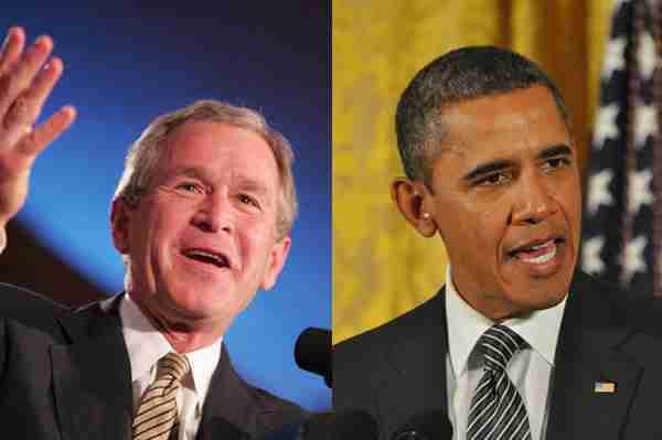 GW Bush and Barack Obama