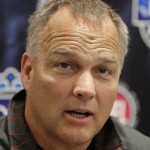 Georgia head coach Mark Richt answers a question during a news conference for the Belk Bowl NCAA college football game in Charlotte, N.C., Monday, Dec. 29, 2014. Georgia will face Louisville in the Belk Bowl on Tuesday, Dec. 30. (AP Photo/Chuck Burton)