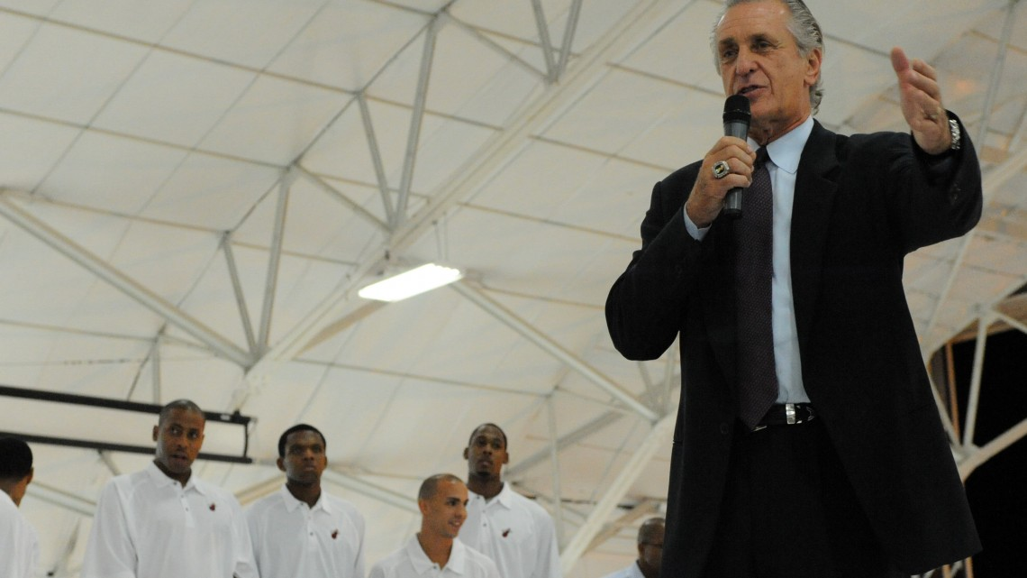 Pat Riley, the president of the Miami Heat National Basketball Association team, speaks during the team?s arrival at Eglin Air Force Base, Fla., Sept. 27, 2010. Players with the team were conducting their 2010 training camp at Hurlburt Field, Fla., marking the first time in 23 years the team has taken their training camp on the road. (DoD photo by Airman 1st Class Caitlin O'Neil-McKeown, U.S. Air Force/Released)