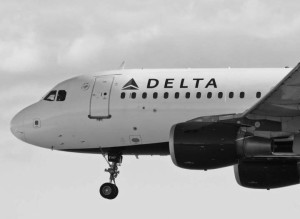 Delta Air Lines Airbus A319 commercial jet airliner, Vancouver International Airport.