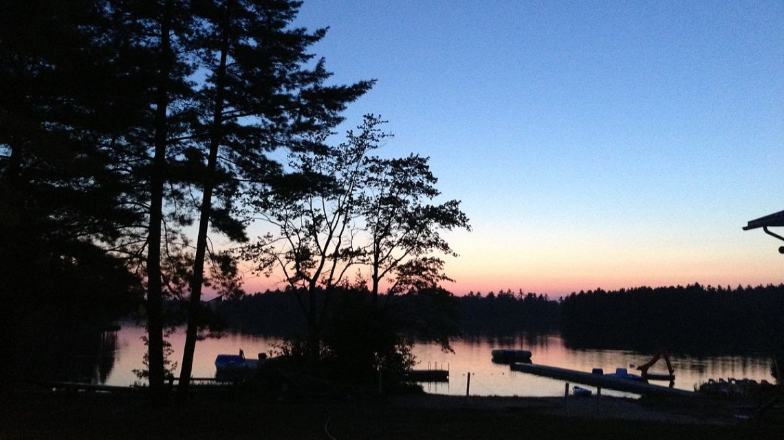 Nighttime_looking_out_on_Lake_Pringle_from_Camp_Gesher's_beach