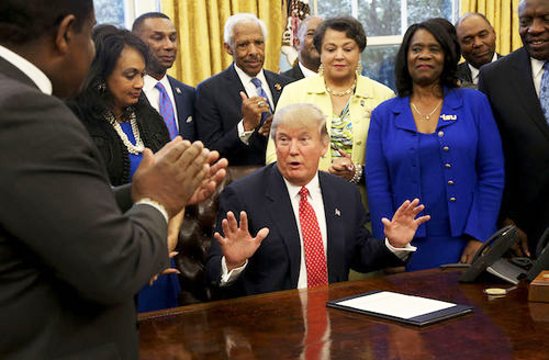 WASHINGTON, D.C. - FEBRUARY 28: U.S. President Donald Trump speaks before signing the HBCU Executive Order to support Black Colleges and Universities in the Oval Office of the White House,on February 28, 2017 in Washington, DC. The executive order moves an initiative to assist the Historically Black Colleges and Universities from the Education Department back to the White House. (Photo by Aude Guerrucci-Pool/Getty Images)