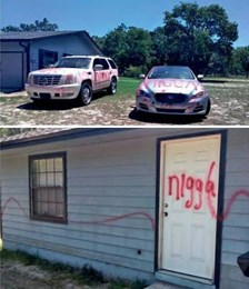 Racial slurs spray painted on Florida woman's cars